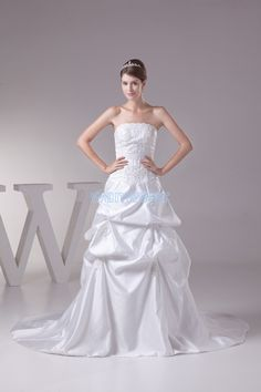 Floral A-line Train White Strapless Taffeta Wedding Dress With Appliquess