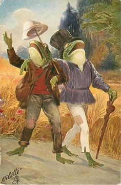 two drunk dressed frogs walk beside corn field, one lifts his hat high on walking stick