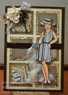Bombshell Angel Stamp Set, Serendipity Squares, paper piecing, http://sharonshowcase.blogspot.com