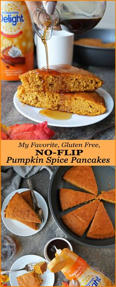 Love pancakes but don't like spending your morning flipping them? Well, you have got to give this gluten-free No-Flip Pumpkin Spice Pancake a try – your family will love how tasty this is and you will love how easy this is to whip up! Best Dessert Recipes, Healthy Desserts, Fun Desserts, Healthy Recipes, Top Recipes, Meal Recipes, Delicious Recipes, Free Recipes, Pumpkin Spice Pancakes