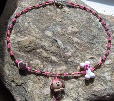 Handmade Girls Pink  Puppy Dog Polymer Clay Bead Necklace
