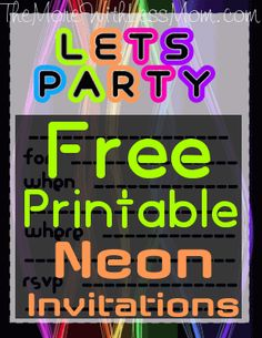 Download a PDF of free printable neon invitations for your DIY glow party.