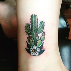 My cactus tattoo! By Sarah at Fateless tattoo in queen creek az