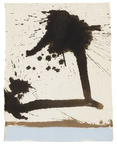 Robert Motherwell 1915 - 1991 AUTOMATISM WITH SPLASH signed, titled and dated 1966 on the reverse of the backing board, ink and acrylic on paper