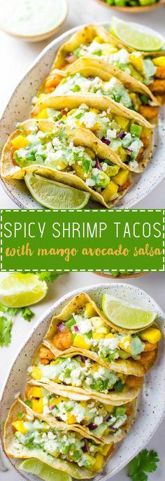 Spicy Shrimp Tacos with Mango Avocado Salsa - Lean Green Nutrition Fiend Cilantro Salsa, Mango Avocado Salsa, Spicy Salsa, Chili Lime Shrimp, Spicy Shrimp Tacos, Chipotle, Meal Prep For Work, Shrimp Burger, Lean And Green Meals