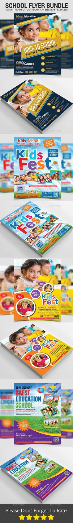 Buy School Flyers Bundle by afjamaal on GraphicRiver. This Flyers is made in photoshop the files included are help file and photoshop psd's. Brochure Layout, Brochure Design, Flyer Design, Colegio Ideas, Birthday Flyer, Lato Font, Education Banner, Flyer Printing, Insert Image