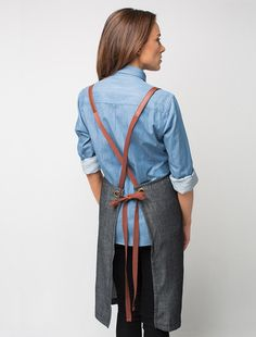 Server  Henry Denim Bib Apron - Charcoal