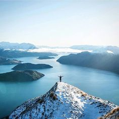 A view of of Lake Wanaka from the top of Mount Roy located in New Zealand. Mount Roy's summit is meters above sea level. Photograph by Sam Deuchrass Beautiful World, Beautiful Places, Lake Wanaka, Explorer, New Zealand Travel, National Geographic, The Great Outdoors, Adventure Travel, Adventure Awaits