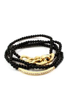 Crystal Maddox Bracelet in Jet Pearl on Emma Stine Limited