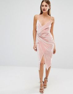 Boohoo   Boohoo Velvet Strappy Wrap Midi Dress at ASOS
