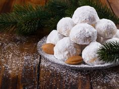 [ Traditional Christmas Cookies With Almonds On Dark Wooden Background Italian Wedding Cookies, Traditional Christmas Cookies, Delicious Desserts, Yummy Food, Russian Tea Cake, Greek Sweets, Mantecaditos, Greek Cooking, Greek Dishes