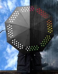 Color changing umbrella printed with special ink, white when dry, that changes color when wet