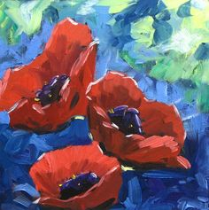 Giclee Print on Canvas Coquelicots 20 X 20 by Prankearts. $140.00, via Etsy.