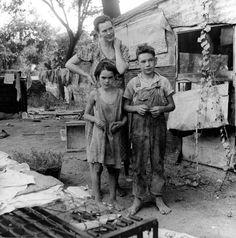 """People living in miserable poverty"", Elm Grove, Oklahoma, Dorothea Lange photographer, 1936."