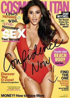 Shay Mitchell covers the 2016 issue of Cosmopolitan. She's wearing a red swimsuit with cutouts. Cosmopolitan Magazine, Instyle Magazine, Vogue Magazine, Shay Mitchell, Suzy Kpop, Bikinis, Swimsuits, Pose, Lose 5 Pounds