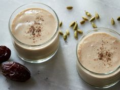Banana, Date and Cashew Smoothie: Banana and cashews create the smooth base, while dates add a sweet caramel-like flavor and vanilla, cinnamon and cardamom give the drink an irresistible fragrance