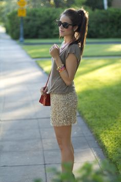 sparkly gold skirt