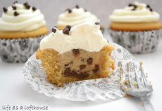 Cupcakes with Cookie Dough in the Middle.