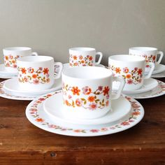 Vintage Arcopal Scania Breakfast Set 6 Cups \u0026 Saucers 6 Breakfast Plates Retro Floral 70\u0027s French Pyrex Kitchenware : breakfast plates set of 6 - pezcame.com