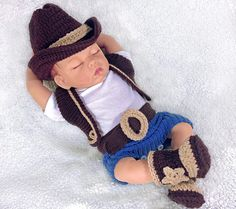 Crochet Baby Cowboy Hat And Boots Pattern Free Crochet Ba Cowboy Outfits Chaki Cowboy Baby Clothes, Baby Cowboy Hat, Newborn Cowboy, Cowboy Outfits, Baby Boy Newborn, Crochet Baby Boots, Crochet Baby Clothes, Baby First Outfit, Baby Outfits