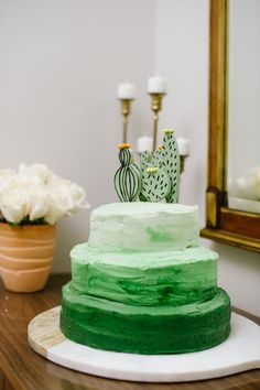 green ombre cake for a cactus and llama spring brunch baby boy shower