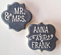 Cute for bridal shower, or wedding favors. Personalized sugar cookies from @whimsycookieco