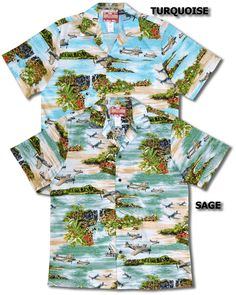 534a5f76 Cotton RJC Brand Made in Hawaii New Hawaiian Islands Airplanes Men's  Hawaiian Shirt is Available in Aqua, Blue and Sage.