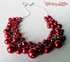 Red Pearl Cluster Valentines Necklace  Red pearls by Eienblue, $25.00