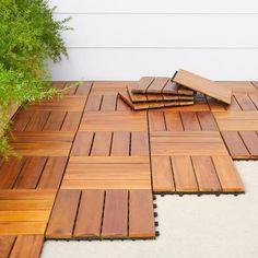 Shop Vifah Premium Plantation Teak 4-slat Deck Tiles (Box of 10) - Overstock - 4348639 Wooden Floor Tiles, Tile Floor, Flooring Tiles, Wood Deck Tiles, Metal Floor, Paver Deck, Pavers Patio, Deck Patio, Concrete Patio
