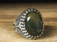 925 K Sterling Silver Man Ring Green Jasper 9 US Size B21-65145 #istanbul #Cluster