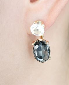 Gray crystal glass double sided drop earrings by SkylaBoutique