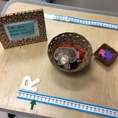 Our new measurement provocation. Exploring standard and non-standard measurement. Measurement Kindergarten, Kindergarten Inquiry, Measurement Activities, Math Measurement, Kindergarten Centers, Math Classroom, Teaching Math, Math Centers, Math Activities