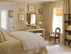 Bedroom, table vignette, art wall gallery, neutral, sophisticated interiors August 2016 - Page 2 of 13 - The Enchanted Home