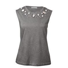 Hot Options Muscle Tee With Bling - Grey