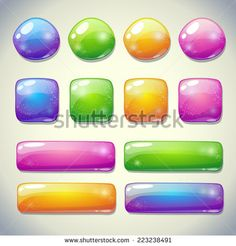Set of cartoon glossy buttons for game or web design - stock vector
