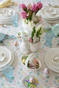 I hope you and your family had a wonderful Easter! I set a table with the bunnies and eggs for an Easter celebration! I found assorted white bunny dishes, cousins to my favorite white bird dishes, … Easter Table Settings, Easter Table Decorations, Decoration Table, Easter Centerpiece, Easter Decor, Easter Ideas, Table Centerpieces, Easter Tablecloth, Easter Monday