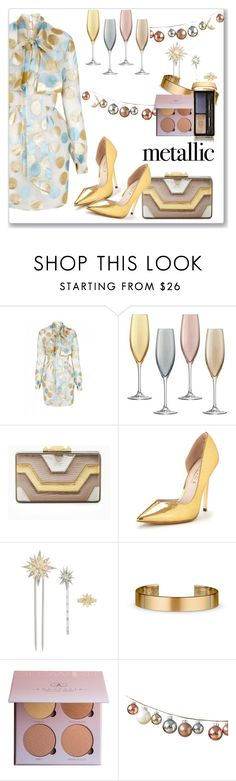 """""""Metallic"""" by kimzarad1 ❤ liked on Polyvore featuring The 2nd Skin Co., LSA International, BCBGMAXAZRIA, Office, Henri Bendel, Le Gramme and Guerlain"""