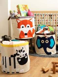 Love these whimsical storage bins for the kids' rooms!