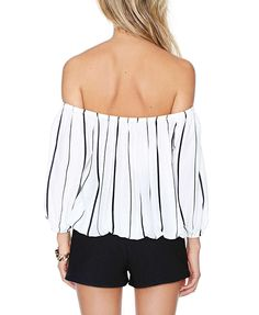 Black And White Stripe Print Boat Neckline Blouse