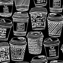 Coffee Buzz, black with white coffee cups