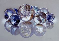 """Glassies, Marbles XIV,"" 1985 ~ Love the work of Charles Bell (1935-95).  He focused mainly on showing the beauty in mundane objects and was well-known for his ability to capture the qualities of glass.  Here, colored pencil on gray paper...astonishing!"