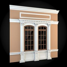 Buy Wall 021 by ThemeREX on High quality polygonal model of a building wall. Exterior Window Molding, Wall Stickers Home Decor, Front Elevation, Window Frames, Architecture Details, Typography Design, Beautiful Homes, 3 D, House Plans