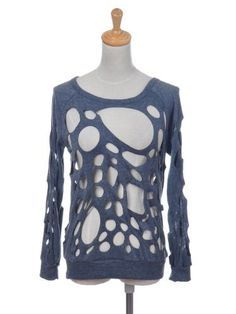 Anna-Kaci S/M Fit Grunge Grey Long Sleeve Burned Cut Out Holes Sweater Shirt Top Anna-Kaci. $19.90