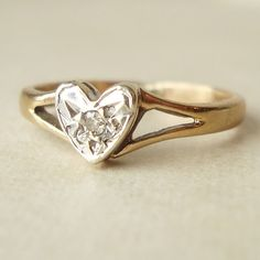 Vintage Diamond Heart Ring, Engagement Ring, Solitaire Diamond Heart 9k Gold Wedding Ring Size US 3