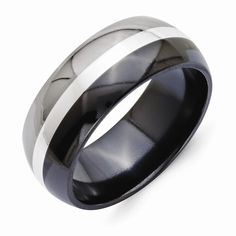 Chisel Titanium Black Ti Polished Band with Sterling Silver Inlay