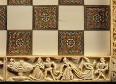 Border of a chessboard depicting courtly life, 1415 (ivory), French School, (15th century) / Museo Nazionale del Bargello, Florence, Italy / The Bridgeman Art Library