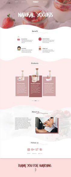 Yogurt Landing page Web Design Trends, Food Web Design, Web Design Websites, Graphisches Design, Layout Design, Website Layout, Web Layout, Website Ideas, Wireframe