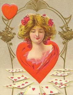 Queen of My Heart Vintage Valentine Postcard Fortune Valentine Series 1910 by TheOldBarnDoor for $7.00