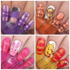 winnie the pooh characters. piglet. eyeore. pooh bear. tigger. one hundred acre woods. disney disneyland. dland.#nails DIY NAIL ART DESIGNS