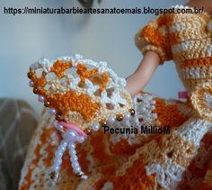 Vestido dA Bela e a Fera em Crochê Para Bonecas com Passo a Passo de Pecunia MillioM 6